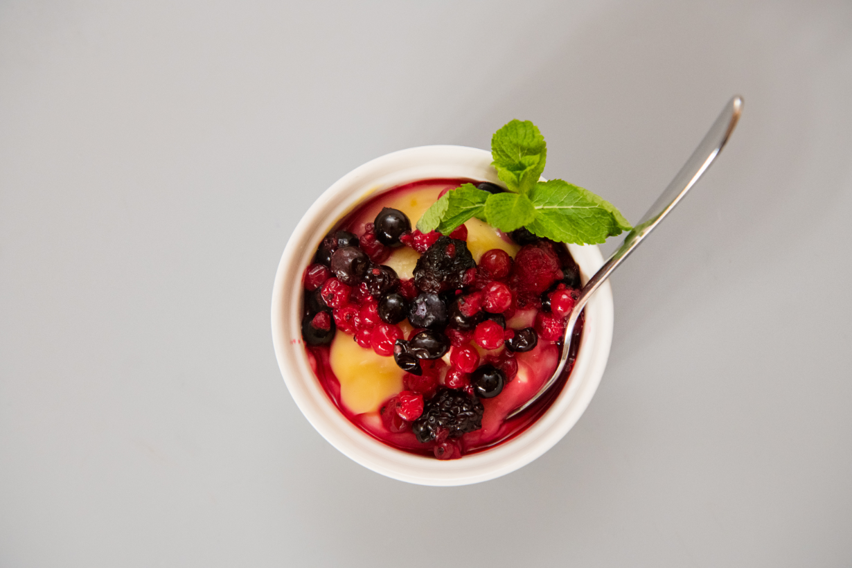Budinca de Vanilie cu fructe de Padure